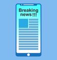 news on smartphone screen vector image