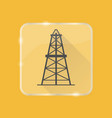 oil derrick silhouette icon in flat style on vector image