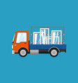 orange truck with glass on a blue background vector image