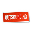 outsourcing square sticker on white vector image vector image