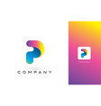 p logo letter with rainbow vibrant beautiful vector image vector image
