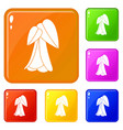 palm tree icons set color vector image
