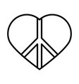 peace symbol in heart love human rights day line vector image vector image