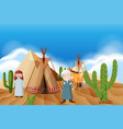 people at the desert camp vector image vector image