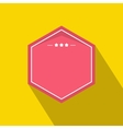 Pink badge with three stars icon flat style vector image vector image
