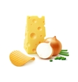Potato Ripple Chips with Cheese and Onion Isolated vector image vector image