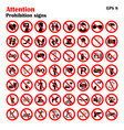 prohibition sign icons collection set vector image vector image