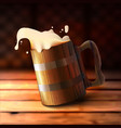 realistic wooden old beer mug vector image