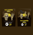 set of halloween party invitation cards vector image