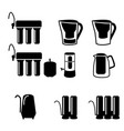 set of water filter in black silhouette icon vector image