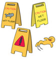 set of wet floor sign vector image