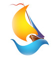 ship with bloated sails on a blue wave vector image vector image