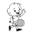 tennis sport boy cartoon vector image vector image