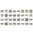 tooth braces icons set flat vector image vector image