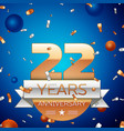 twenty two years anniversary celebration design vector image vector image