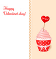 Vintage valentines card Pink cream cupcake vector image