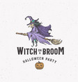 witch on a broom halloween logo or label template vector image