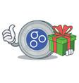with gift omesigo coin character cartoon vector image vector image