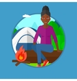 Woman sitting on log in the camping vector image vector image