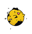 yellow round monster character flying cute vector image vector image