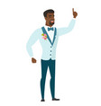african groom pointing with his forefinger vector image vector image