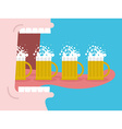 Alcoholism Drinking many beer Man drinks beer Wide vector image vector image