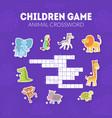 animal crossword children educational game vector image vector image