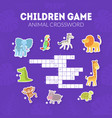 animal crossword childrens educational game with vector image vector image