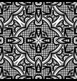 black and white seamless pattern with mosaic motif vector image