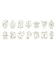boho symbols collection contour pentagrams vector image