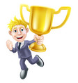 business man winner and trophy vector image