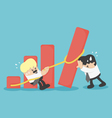 business team help falling graph vector image vector image