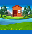 cabin in the nature vector image