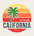california tee print with styled palm tree vector image vector image