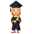 cartoon girl in graduation costume vector image