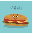 cartoon sandwich food fast facial expression vector image vector image