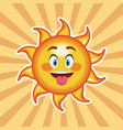 character sun tongue out with striped background vector image vector image