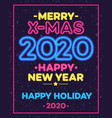 christmas celebration neon poster vector image vector image