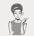 comic woman amazed women pop art girl beauty vector image