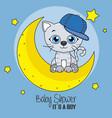 cute cartoon cat on a moon vector image