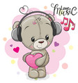 cute teddy bear with headphones vector image