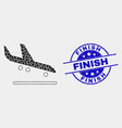 dot airplane arrival icon and distress vector image vector image