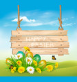 easter holiday background with colofrul eggs in vector image