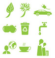 ecology green icons collection isolated on white vector image vector image