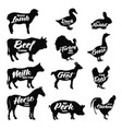 farm animals icon set butchery logo and label vector image