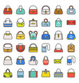 fashion bag filled outline icon in various style vector image