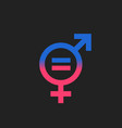 gender equal sign icon men and woomen equal vector image vector image