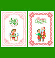 girl making postcard best wishes santa and kid vector image vector image