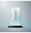 glass trophy award first place prise plaque vector image vector image