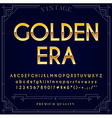 Gold Metallic Font Set Letters Numbers and Special vector image vector image